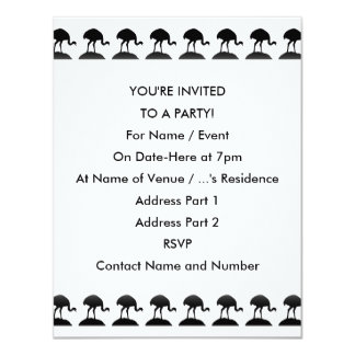 Black and White Pattern of Rhea Birds. 4.25x5.5 Paper Invitation Card