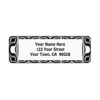 black and white pattern return address labels