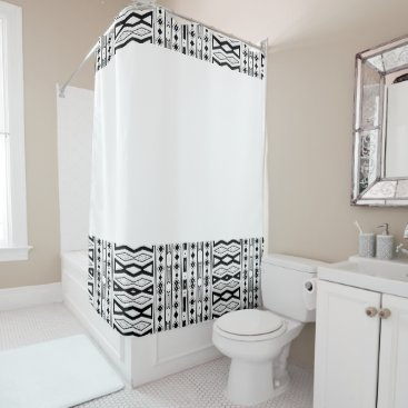 Aztec Themed black and white pattern shower curtain