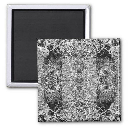 Black and White Pattern. Trees and Stone. 2 Inch Square Magnet