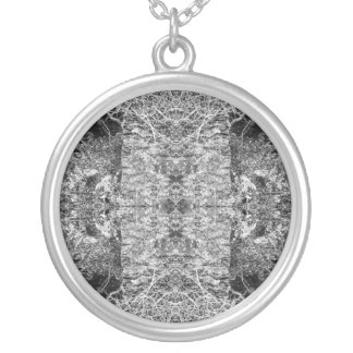 Black and White Pattern. Trees and Stone. Silver Plated Necklace