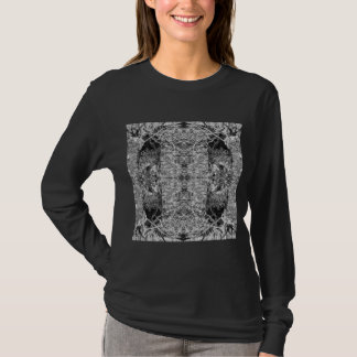 Black and White Pattern. Trees and Stone. T-Shirt