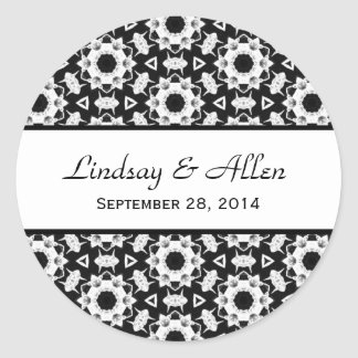 Black and White Pattern Wedding Save the Date Classic Round Sticker