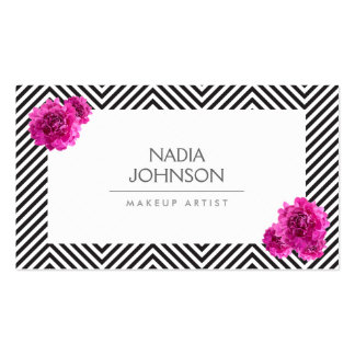 Black and White Pattern with Pink Flowers Beauty Double-Sided Standard Business Cards (Pack Of 100)