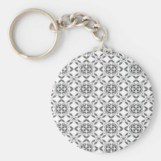 Black And White Patterned Background Keychain