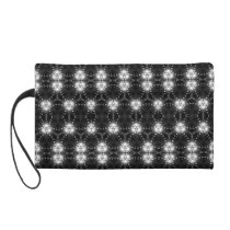 Black and white patterned wristlet purse