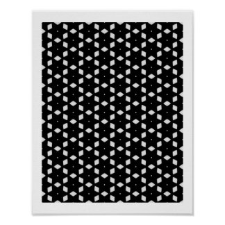 Black and White Patterns | Diamonds and Stars I Poster