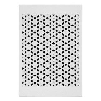 Black and White Patterns | Diamonds and Stars II Poster