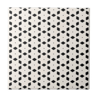 Black and White Patterns   Diamonds and Stars II Tile