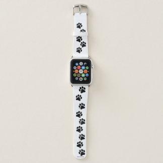 Black and White Paw Print Pattern Apple Watch Band