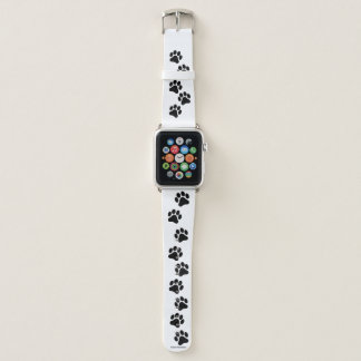 Black and White Paw Print Pattern Apple Watch Band