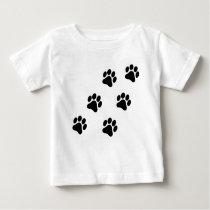 Black and White Paw Print Pattern Baby T-Shirt
