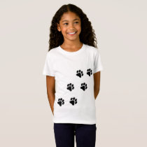 Black and White Paw Print Pattern Girl's T-Shirt