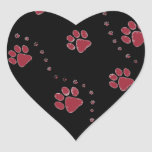 black and white paw prints design heart sticker