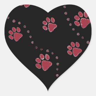 black and white paw prints design heart sticker