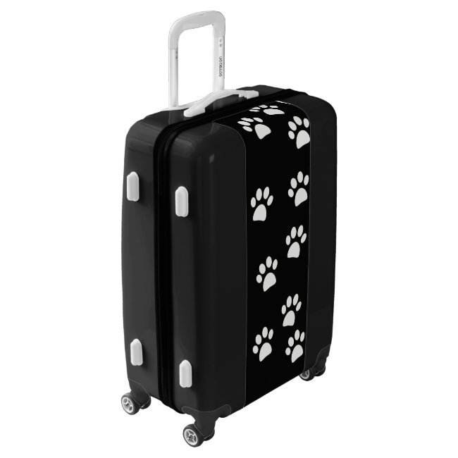Black and White Paw Prints Design Luggage