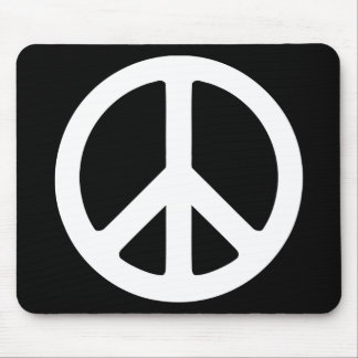 Black and White Peace Sign Mouse Pad
