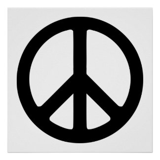 Black and White Peace Sign Poster