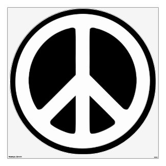 Black and White Peace Sign Wall Decals