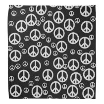 Black and White Peace Signs Bandana