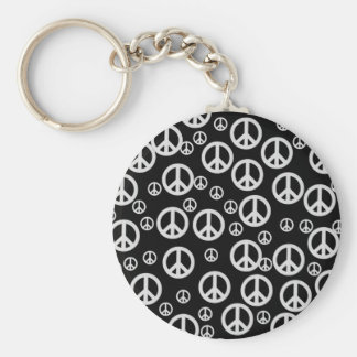 Black and White Peace Signs Keychain