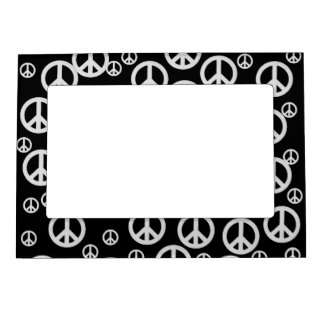 Black and White Peace Signs Magnetic Frame