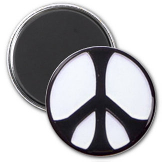 Black and White Peace Symbol 2 Inch Round Magnet