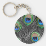 Black and White Peacock Feather Basic Round Button Keychain