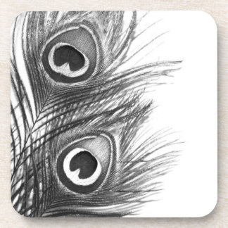 Black and White Peacock Feather Coasters