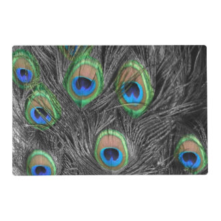 Black and White Peacock Feather Placemat