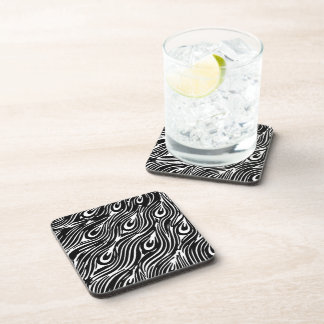 Black and White Peacock Feathers Beverage Coaster