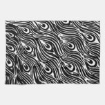 Black and White Peacock Feathers Towels