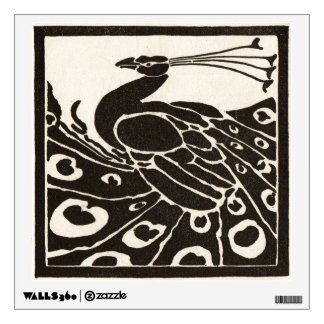 BLACK AND WHITE PEACOCK WALL STICKER