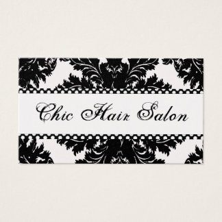 Black and White Pearl Damask Business Cards