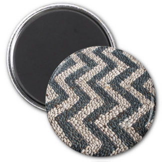 Black and white pebble mosaic in GREECE 2 Inch Round Magnet