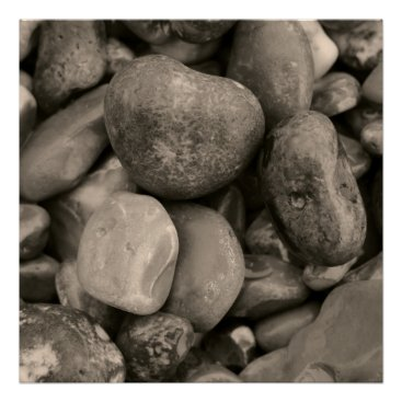 Beach Themed Black and white Pebbles Poster
