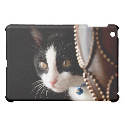 Black and White Peek a Boo Kitten iPad Cover