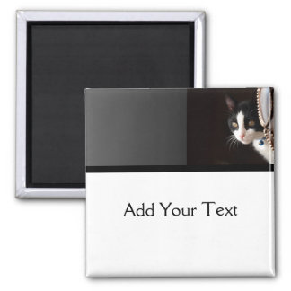 Black and White Peekaboo Cat 2 Inch Square Magnet