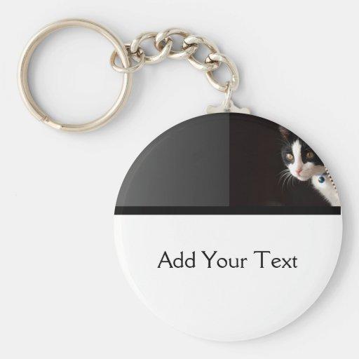 Black and White Peekaboo Cat Key Chain