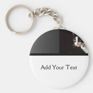 Black and White Peekaboo Cat Basic Round Button Keychain
