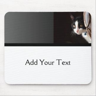 Black and White Peekaboo Cat Mousepad