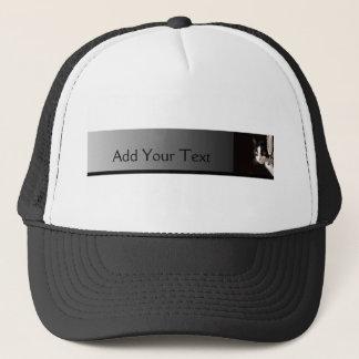 Black and White Peekaboo Cat Trucker Hat