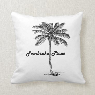 USA Themed Black and White Pembroke Pines & Palm design Throw Pillow
