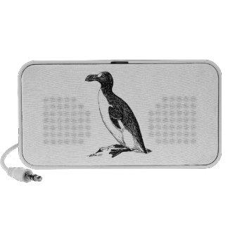 Black and White Penguin Bird Art Laptop Speaker