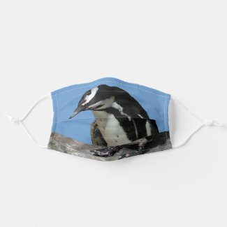 Black and White Penguin Bird Blue Cloth Face Mask