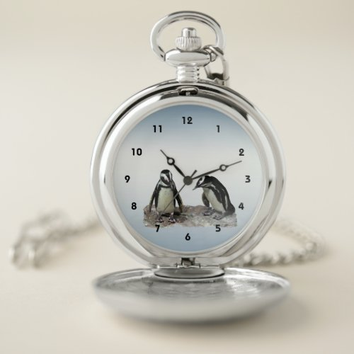 Black and White Penguin Birds Blue Pocket Watch