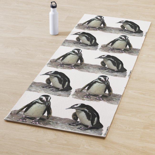 Black and White Penguin Birds Pattern Yoga Mat