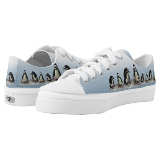 Black and White Penguin Birds Printed Shoes