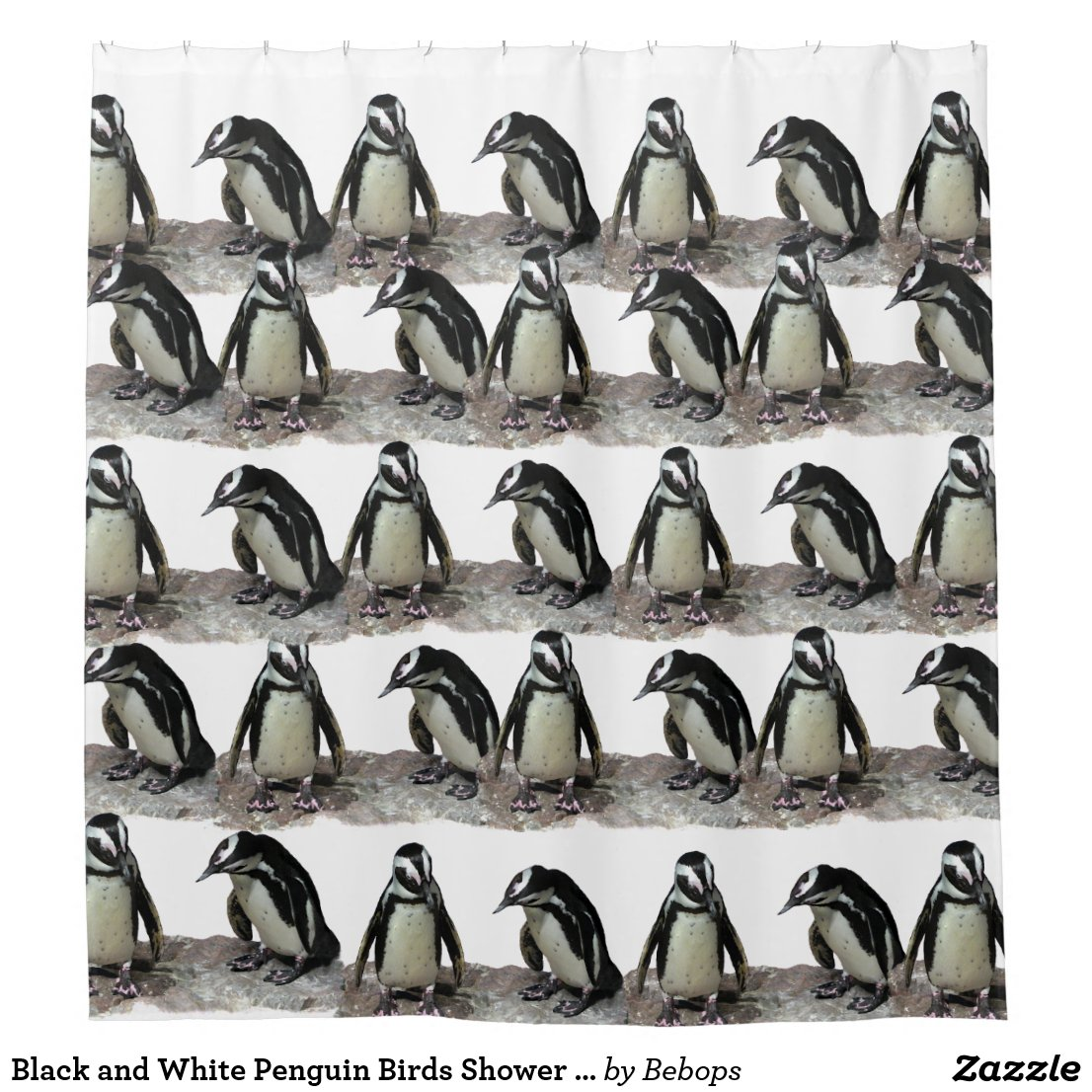 Black and White Penguin Birds Shower Curtain