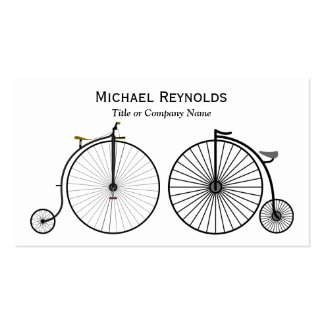 Black and White Penny Farthing High Wheel Bicycles Business Card
